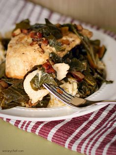 Chicken and Greens with Wine and Bacon - The Weary Chef
