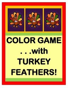 Stuck inside on a gray and rainy day?  Have fun with a COLOR ACIVITY!  Play a THANKSGIVING GROUP GAME, great for Pre-K -- 1st Graders!  All you need are pipe cleaners, rubber bands, and a love of rhythm and rhyme!  Learn a funny SONG that will end with Mr. Turkey being surrounded by a 'rainbow of feathers'!  Includes TURKEY TEMPLATE and FIVE COLOR SIGHT WORD CARDS.  Makes a great class photo op!  Build a Turkey with Joyful Noises Express TpT!  $