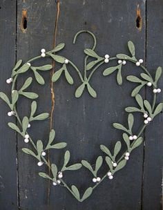 Christmas Mistletoe Heart Wreath.