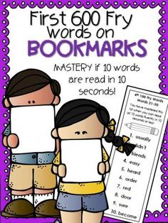 First 600 Fry Words on Mastery Bookmarks from 1st Grade Pandamania! on TeachersNotebook.com -  (79 pages)  - Here is an effective way to help your kindergarten through 6th graders master their Fry sight words! There is no sounding out with this program. There are 60 bookmarks with 10 words on each. When students can read a bookmark of 10 words in 10 seconds, the