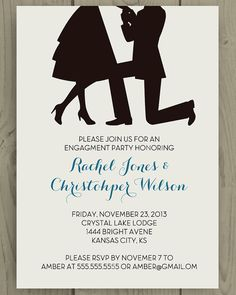 Printable Engagement Party Invite / Proposal Silhouette - Blue text
