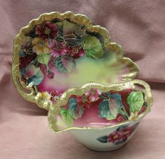 hand paint, hands, ornat hand, antiqu porcelain, glassware from japan, mayonnaise, antiques, porcelain floral, paint porcelain