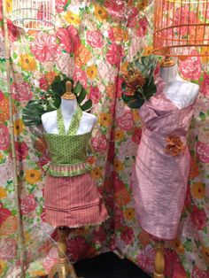 Our dress forms featuring Lilly Pulitzer Fabric and some flowers. Part of our display at The Chicago Flower & Garden Show.