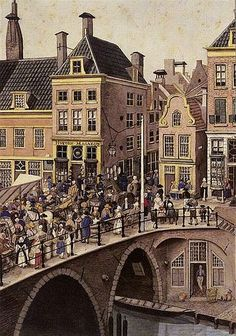 Bakkerbrug 1820: De Zuivelmarkt. We zien de Bakkerstraat. Sinds kort als tegeltableau in de Vinkenburgstraat te zien
