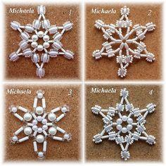 Beaded Christmas decorations - white beads - sada2