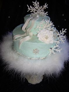 Snowy Winter Birthday Cake winter birthday cakes, birthday parti, frozen bdays, bday stuff, birthday idea, frozen parti, 3rd birthday, frozen birthday, frozen bday cakes