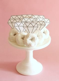 Donut Diamond Rings - Cute Idea for a Bridal shower - Going with the Diamond theme. add diamond bridal shower favors to pull the décor together!