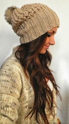Beanies and great messy hair.  Great idea for days when you don't want to do your hair.  Pinned by Pink Pad, the women's health app with the built-in community!