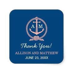 Wedding Monogram Thank You Favor Stickers | Nautical Theme in Navy Blue White & Coral Pink #nautical #wedding #bridal #shower #favor #sticker
