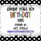 FREE This file contains 6 black and white polka dot editable ( I added my name) birthday tags. This file can be used to create birthday tags for your st... tags, birthday tag, black amp, polka dots, school, birthdays, white polka, black white