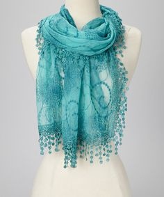 Take a look at this Blue Embroidered Lace Fringe Scarf by not branded on #zulily today!