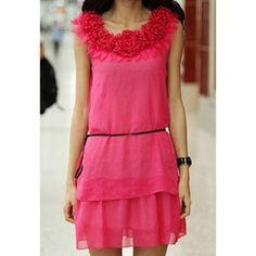 Ladylike Flower Neckline Design Sleeveless Women's Chiffon Dress $16.17