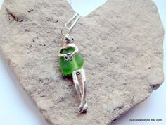 Sea Glass Beach Glass Frog Charm necklace