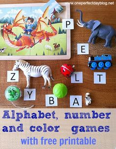 Alphabet, number & matching game with FREE printable via One Perfect Day