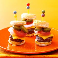 Mini Burgers with the Works!  Fun Football Tailgating Recipes (and bling)!