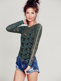 Free People Tight Floral Lace Pullover, $98.00