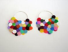 silver earrings, color jewelleri, perler jewelri, cluster earring, bead