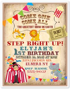10 Circus Carnival Clown Birthday Party Invitations Custom Printed & Envelopes