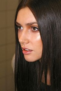 Makeup For Brunettes: Sheen on cheeks, glossy mauve lip.
