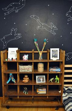 "constellation wall in riley's ""dream animals"" room..."