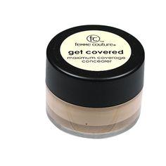 Femme Couture Get Covered Maximum Concealer provides maximum coverage in a light formula.