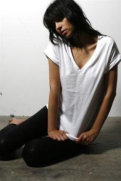 Cotton Vneck Shirt - Basic Essential White Womens Soft Tee $24