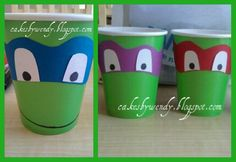 tmnt centerpieces | fill them with candy dont think i would use a cup maybe a small tin bucket and paint it green
