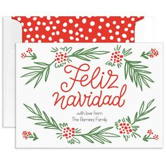 Holly Feliz Navidad Flat Holiday Cards