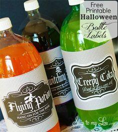 halloween soda, halloween bottl, bottle labels, soda bottles, printable labels, bottl printabl, bottl label