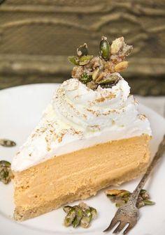 Pumpkin cheesecake with sugared pumpkin seeds