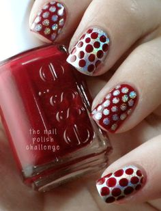 love the silver and red nail tips, polka dots, makeup, manicur, nail art ideas, nail arts, red nails, beauti, christma
