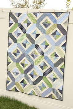 baby boy navy blue and green quilt by amy smart, via Flickr