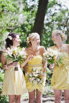 #yellow bridesmaid dresses. so pretty!  yellow dress #2dayslook #yellow style #yellowfashiondress  www.2dayslook.com