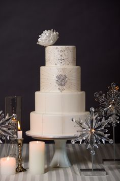 Gorgeous winter wedding cake via Intricate Icings.