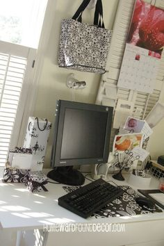 Dollar Tree papers & totes can beautifully organize an office on the cheap! HOMEWARDfound Decor