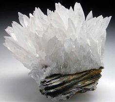 Calcite | Wallis, Switzerland ~ White, pointy scalenohedrons of Calcite on slate matrix. A rare Alpine Calcite specimen.