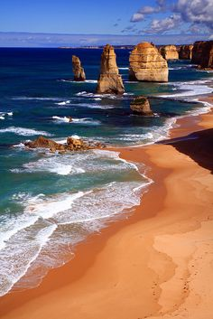 The Twelve Apostles, Australia is a collection of limestone stacks off the shore of the Port Campbell National Park, by the Great Ocean Road in Victoria, Australia. Their proximity to one another has made the site a popular tourist attraction.