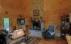 Rustic great room decor.  Bear Hollow cabin in Blue Ridge, GA