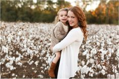 Cotton Field, Mother and daughter in a cotton field, fall family session, family pose inspiration