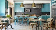 Bobby Flay's Hamptons House - Bobby Flay Home With Stephanie March - ELLE DECOR  Love that gray backsplash!