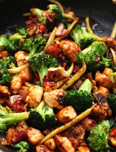 orange chicken and vegetable stir fry.