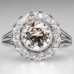 Antique Halo Engagement Ring w/ Old Euro Platinum - EraGem
