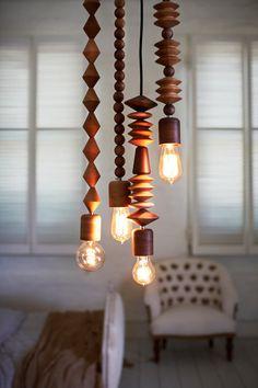 Bright Beads Wooden Lamps by Marz Designs via designmilk