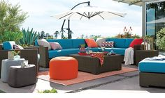 Orange and Blue outdoor lounge perfect for summer time!