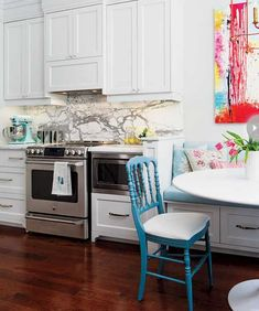 white kitchen cabinets and stainless steel appliances white kitchen cabinets, chair, interior, kitchen colors, bright kitchen, hous, white cabinets, marbl, white kitchens