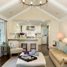 living rooms, traditional kitchens, small kitchens, family rooms, hous, small spaces, open kitchens, vaulted ceilings, white kitchens