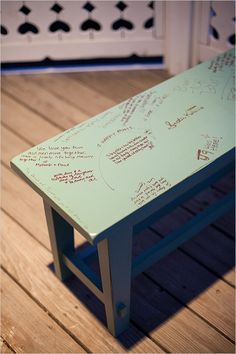 bench used for guest book