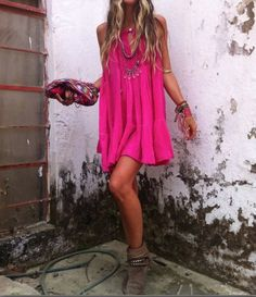Hot pink gypsy style boho chic mini dress and layered hippie necklaces. FOLLOW this board > http://www.pinterest.com/happygolicky/the-best-boho-chic-fashion-bohemian-jewelry-gypsy-/ for the BEST Bohemian fashion trends for 2015.