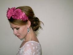 Fuchsia Pink Flower Crown - Lana Del Flower Crown - Fuchsia Headpiece Wedding