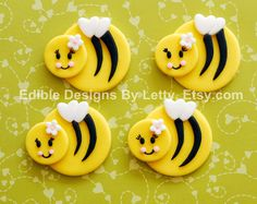 12 Edible Fondant Bumble Bee Cupcake Toppers. $22.00, via Etsy.